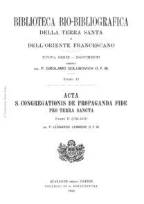 Acta S. Congregationis de Propaganda Fide pro Terra Sancta (parte II)