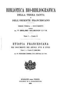 Etiopia Francescana nei documenti dei secoli XVII e XVIII (tomo I-parte II)