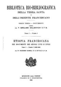 Etiopia Francescana nei documenti dei secoli XVII e XVIII (tomo I-parte I)