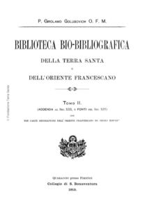 Biblioteca bio-bibliografica/serie I (Annali) – tomo II - Girolamo Golubovich