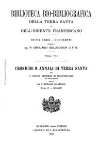 Biblioteca bio-bibliografica/serie II (Documenti) – tomo VII - Girolamo Golubovich