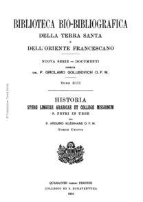 Biblioteca bio-bibliografica/serie II (Documenti) – tomo XIII - Arduino Kleinhans