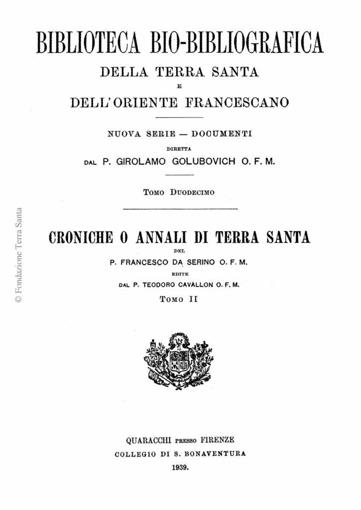 Biblioteca bio-bibliografica/serie II (Documenti) – tomo XII - Girolamo Golubovich