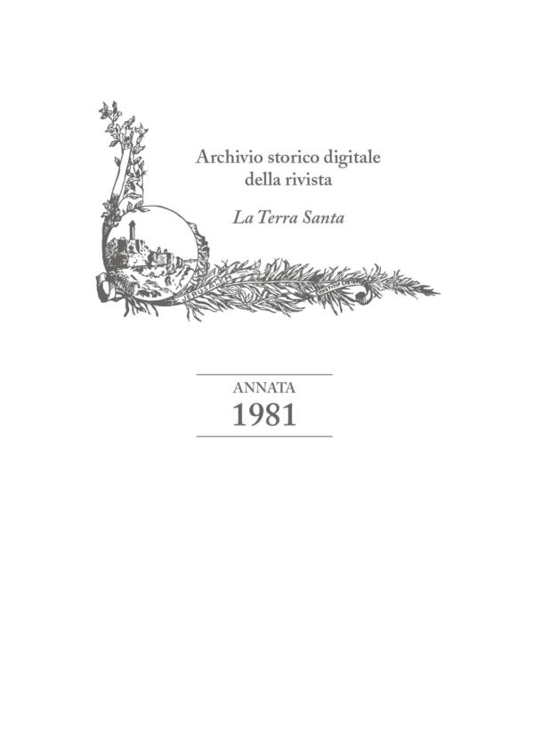 La Terra Santa – annata 1981